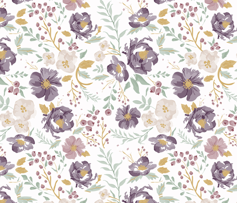 Autumn Meadow Floral fabric by sweeterthanhoney on Spoonflower - custom fabric