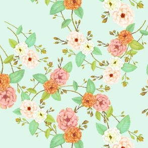Chinoserie Rose Orange Mint Peach Lime