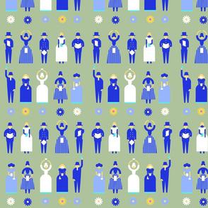 Swedish Folk Pattern People Green