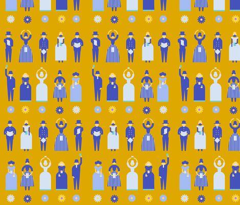 Swedish Folk Pattern People Yellow fabric by ullamermaid on Spoonflower - custom fabric