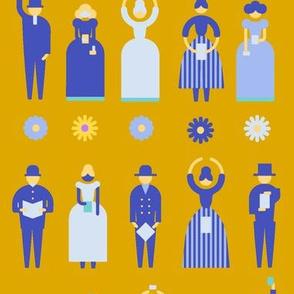 Swedish Folk Pattern People Yellow