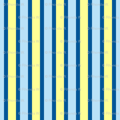Cosy Kitchens Vertical Stripes  - Narrow Summer Seas Blue Ribbons with Baby Blue and Sunbeam Yellow
