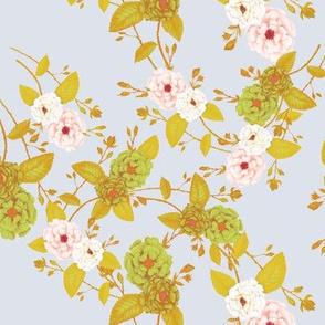 Roses Chinoserie, MustardGreen, Peach, Dove Grey