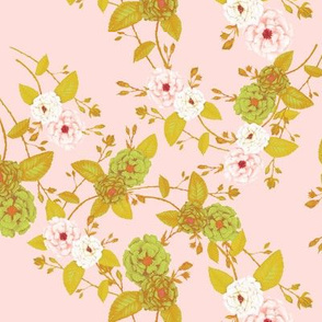 Roses Chinoserie, Mustard Green, Peachy Pink