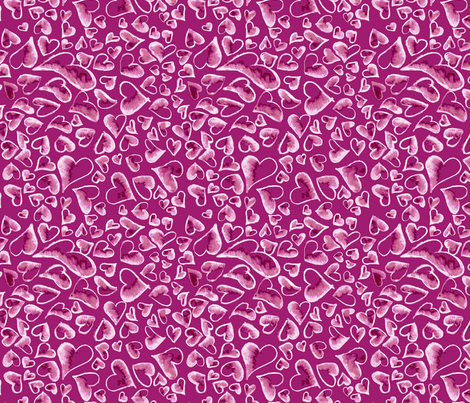 Ditzy Hearts on Purple fabric by engravogirl on Spoonflower - custom fabric