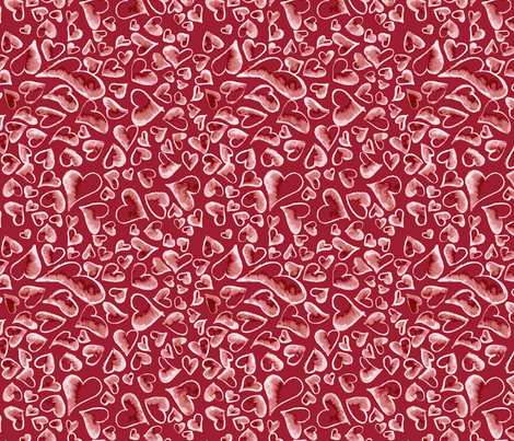 Ditzy Hearts on Red fabric by engravogirl on Spoonflower - custom fabric