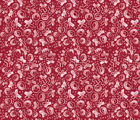 Hugs and Kisses on Red fabric by engravogirl on Spoonflower - custom fabric
