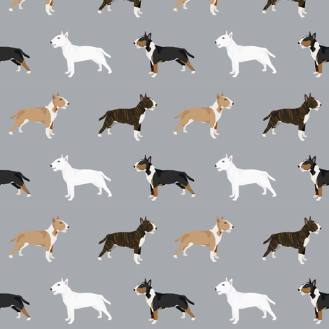 Bull Terrier variety coat colors dog breed fabric by pet friendly grey fabric by petfriendly on Spoonflower - custom fabric
