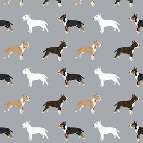 Bull Terrier variety coat colors dog breed fabric by pet friendly grey