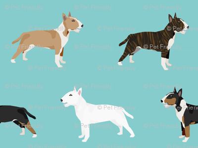 Bull Terrier variety coat colors dog breed fabric by pet friendly