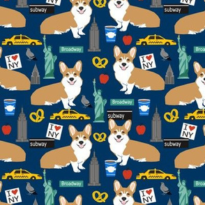 Corgi new york city big apple fabric cute dog breed fabric corgis navy