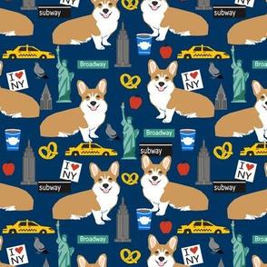 Corgi new york city big apple fabric cute dog breed fabric corgis navy