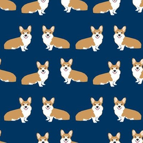 Corgi simple dog breed fabric corgis navy