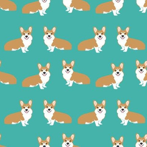 Corgi simple dog breed fabric corgis turquoise