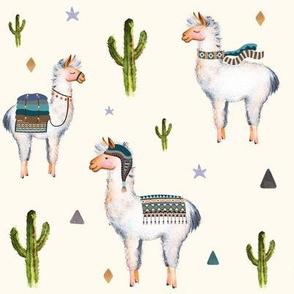 """8"""" Boys Aztec Llama / Ivory"""