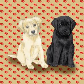 Custom Two Sitting Lab Puppies 18 inch