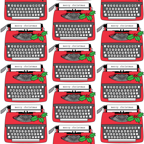 vintage christmas typewriters fabric by lilcubby on Spoonflower - custom fabric