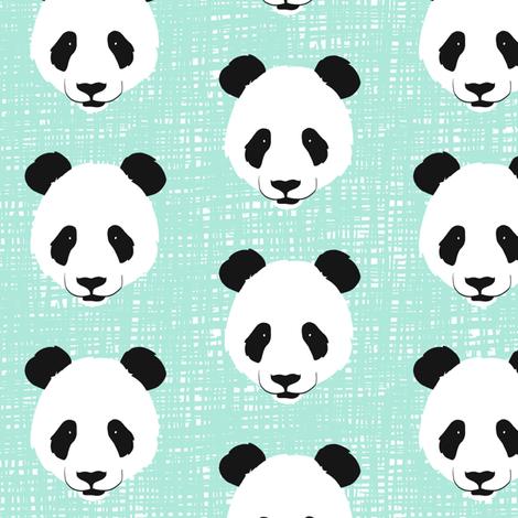 PandaHDMint fabric by wolfandrabbitfabrics on Spoonflower - custom fabric