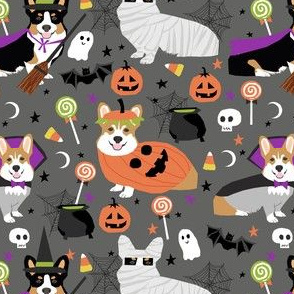 corgi halloween party - cute corgis dressed up for october 31st