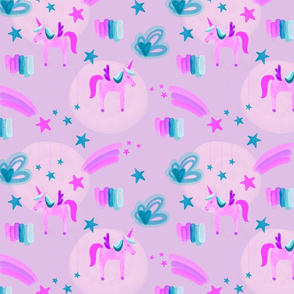 Electric Pink Unicorns Stars and Clouds // on purple // small