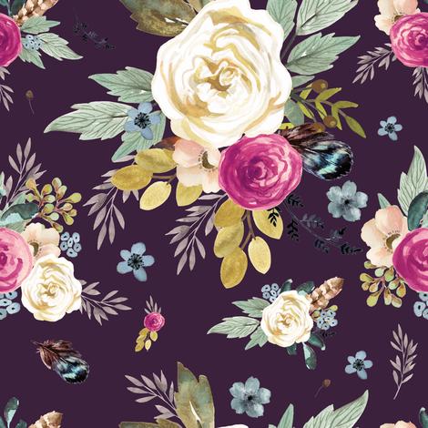 "8"" Western Autumn Mauve Flower - Eggplant fabric by shopcabin on Spoonflower - custom fabric"