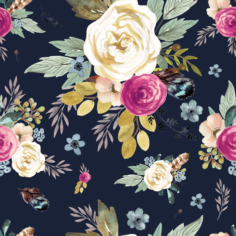 "8"" Western Autumn Mauve Flower - Navy fabric by shopcabin on Spoonflower - custom fabric"