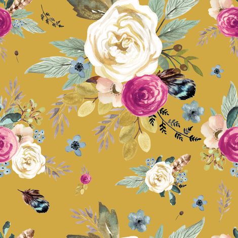 "8"" Western Autumn Mauve Flower - Mustard fabric by shopcabin on Spoonflower - custom fabric"