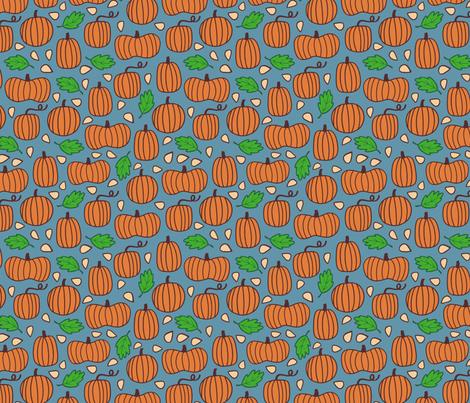 Pumpkin Patch - blue fabric by jaymehennel on Spoonflower - custom fabric