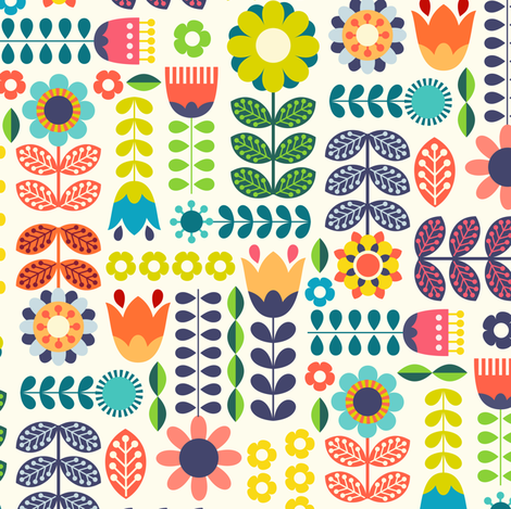Swedish Folk Art Colorway1 fabric by enariyoshi on Spoonflower - custom fabric