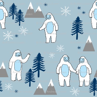 Yeti christmas winter snow fabric blue grey by andrea lauren