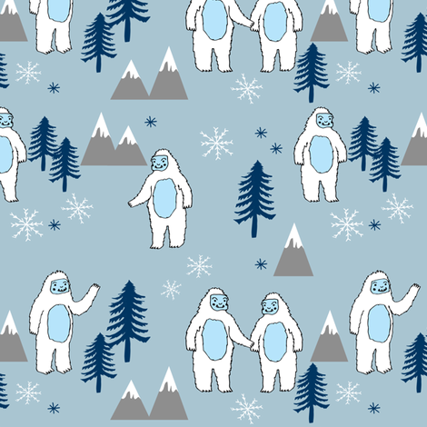 Yeti christmas winter snow fabric blue grey by andrea lauren fabric by andrea_lauren on Spoonflower - custom fabric