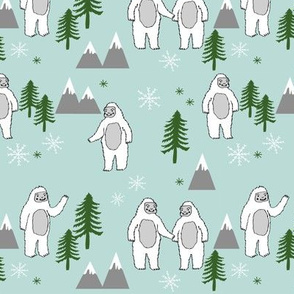 Yeti christmas winter snow fabric minty by andrea lauren