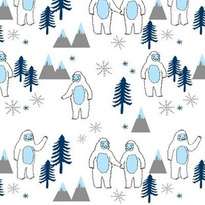 Yeti christmas winter snow fabric white and blue by andrea lauren