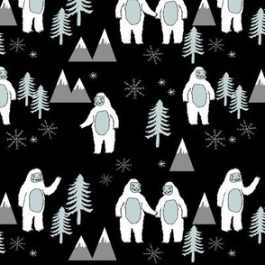 Yeti christmas winter snow fabric black by andrea lauren