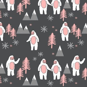 Yeti christmas winter snow fabric grey and pink by andrea lauren