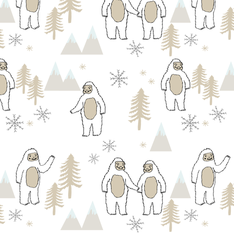 Yeti christmas winter snow fabric neutral by andrea lauren fabric by andrea_lauren on Spoonflower - custom fabric