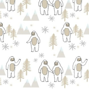 Yeti christmas winter snow fabric neutral by andrea lauren