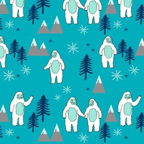 Yeti christmas winter snow fabric bright blue by andrea lauren