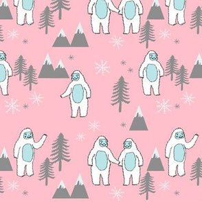 Yeti christmas winter snow fabric pink by andrea lauren