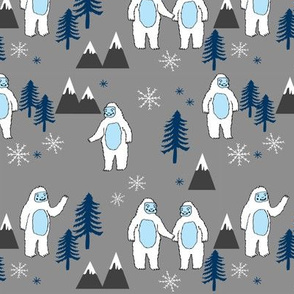Yeti christmas winter snow fabric grey and blue by andrea lauren