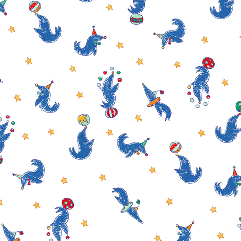 Circus  lapis blue seals fabric by helenpdesigns on Spoonflower - custom fabric