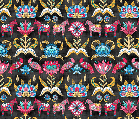 Swedish Style Floral on Black fabric by pond_ripple on Spoonflower - custom fabric