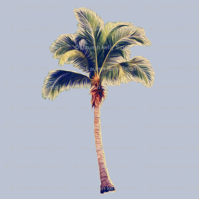 Vintage Palm Tree on Blue Grey