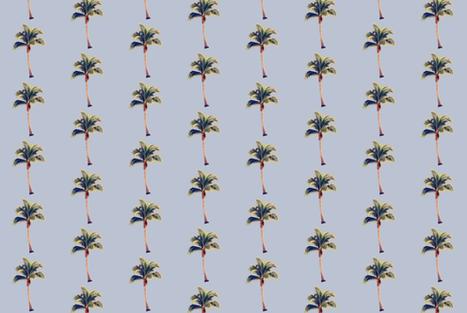 Vintage Palm Tree on Blue Grey fabric by thistleandfox on Spoonflower - custom fabric