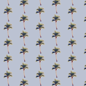 Vintage Palm Tree on Blue Grey