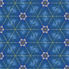 Country Kaleidoscope Blue Upholstery Fabric