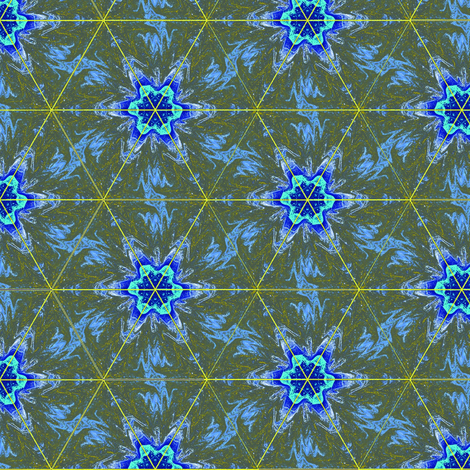 Blue Flowers on Olive Green Upholstery Fabric fabric by llukks on Spoonflower - custom fabric