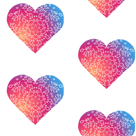 Hearts: 'Summer Party' colour fabric by thepeachtree on Spoonflower - custom fabric