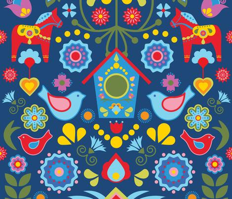 Swedish-Folk-Art-Garden fabric by linziloop on Spoonflower - custom fabric