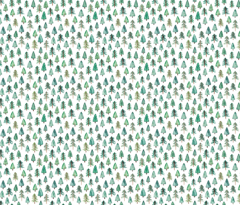 Evergreen Christmas Trees or Forest (smaller) fabric by elena_o'neill_illustration_ on Spoonflower - custom fabric